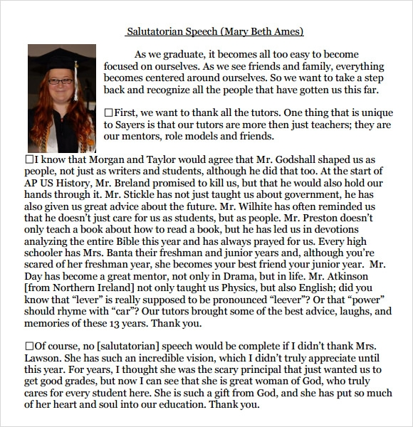 Sample Salutatorian Speech Examples - 9+ Download Free ...