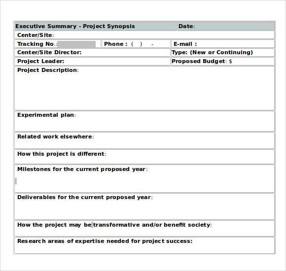 Sample Executive Summary Template 8 Documents in PDF Word Excel – Project Summary Template