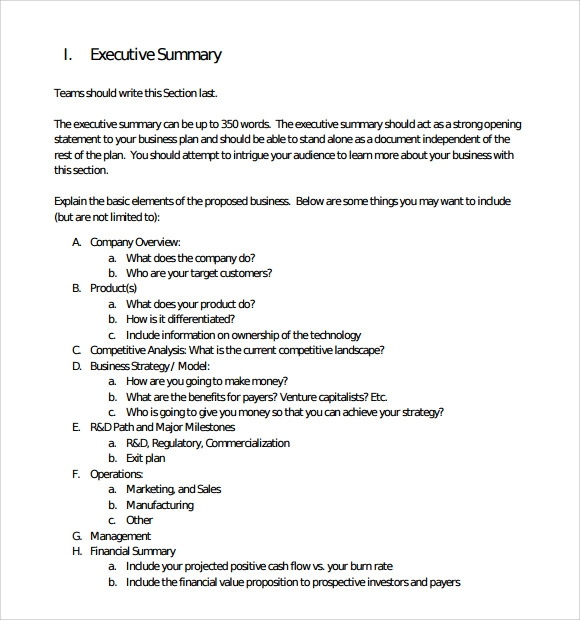 Sample Executive Summary Template   Documents In Pdf Word Excel