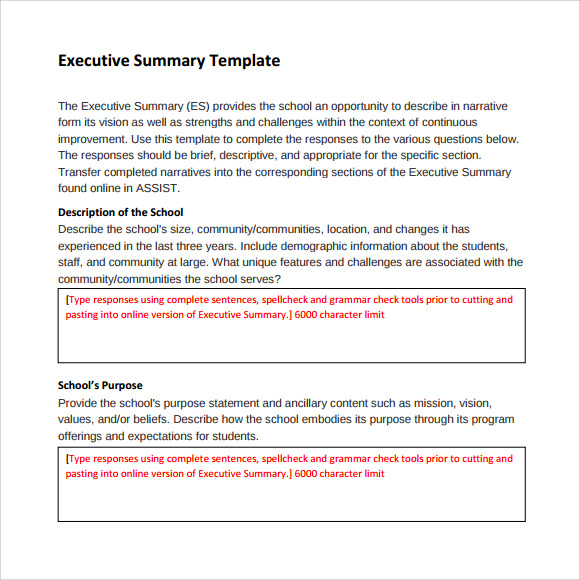 Sample Executive Summary Template 8 Documents in PDF Word Excel – Exec Summary Example