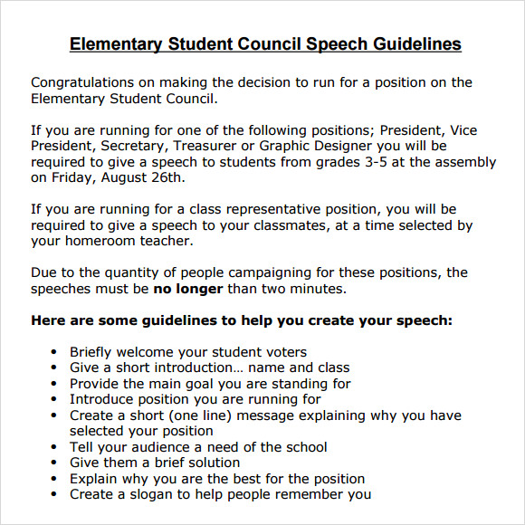 elementary school student council speech examples