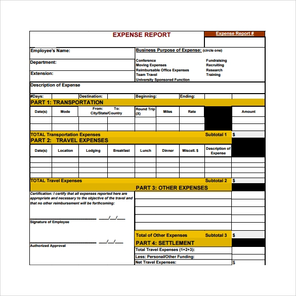 expense report to download
