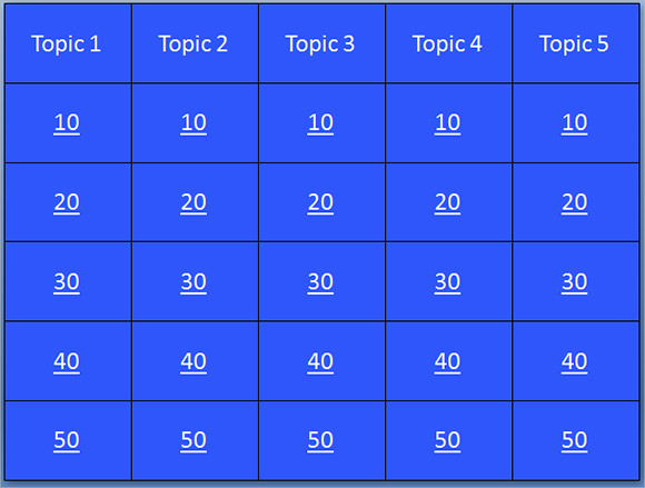 jeopardy powerpoint template 30 questions