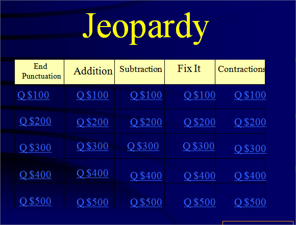 Keynote Jeopardy Template