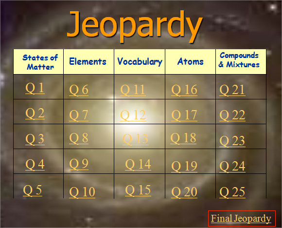 Jeopardy Powerpoint Template With Sound | Template Design