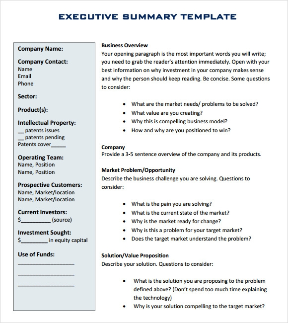 Executive Summary Outline Template. Executive Summary Writing,8+