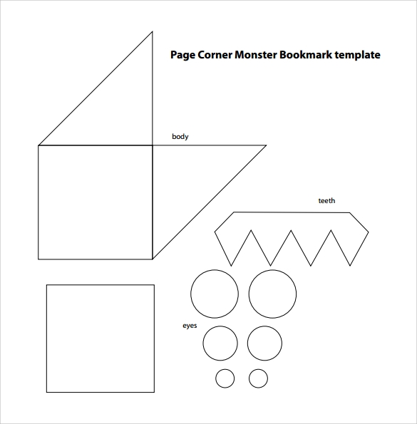 Page Corner Monster Bookmark Template