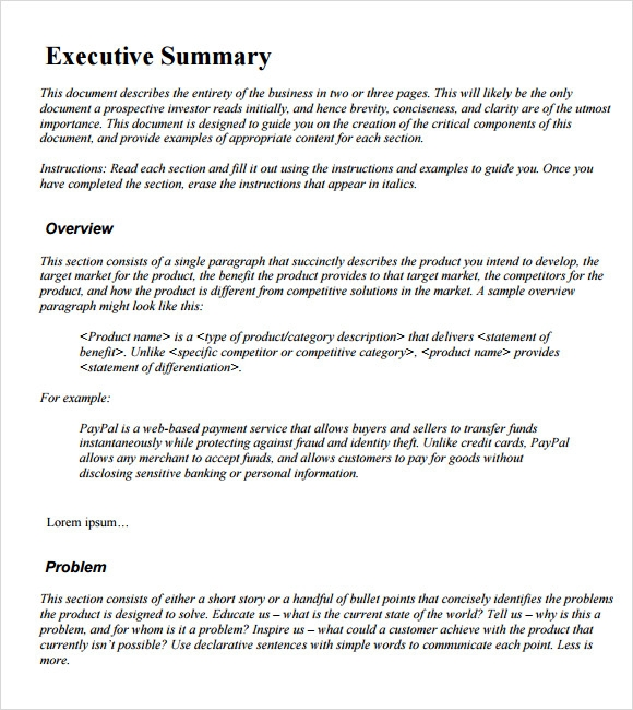 example executive summary template lopTGtPt