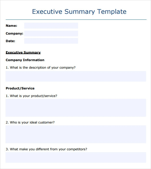 Sample Business Summary 5 Documents In PDF – Business Executive Summary Template