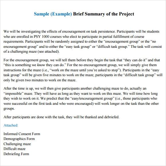 Sample Project Summary Template 8 Free Documents in PDF Word – Project Summary Template