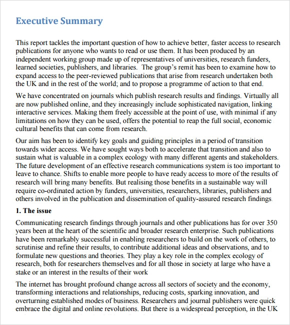 free executive summary template word – Executive Summary Template for Report