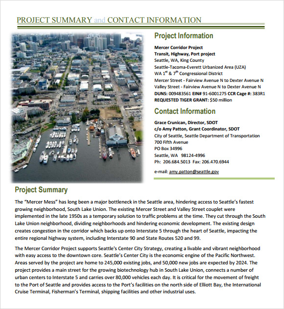 Sample Project Summary Template 8 Free Documents in PDF Word – Project Summary Template Word