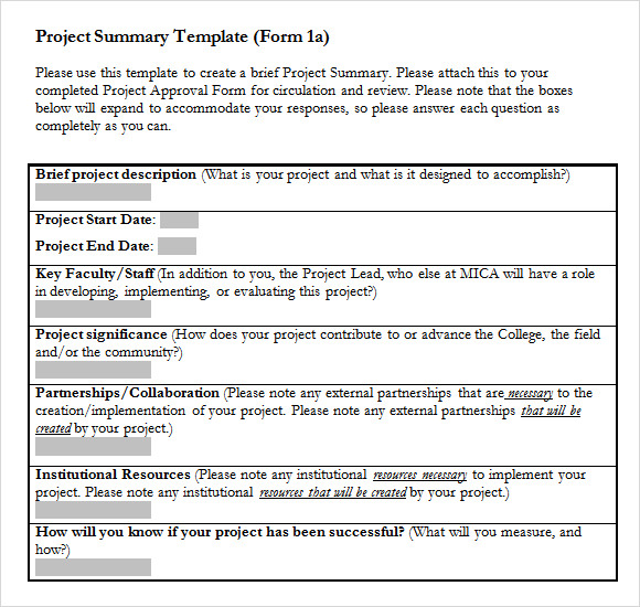 project summary sample project summary template word - Funf.pandroid.co