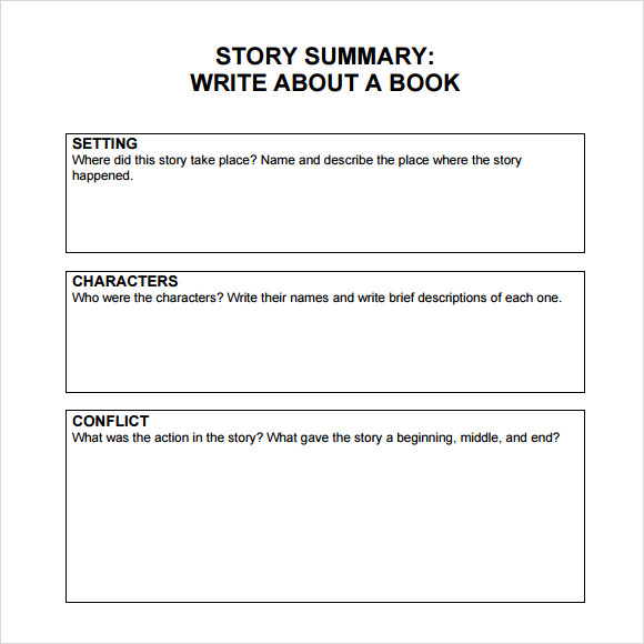 book summary template middle school