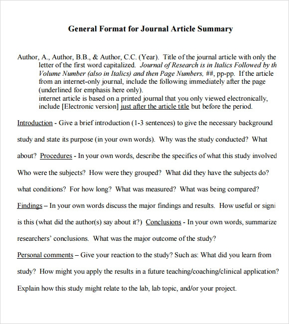 article summary sample documents in pdf article summary template sample