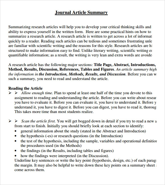 Article Summary Sample   Documents In Pdf