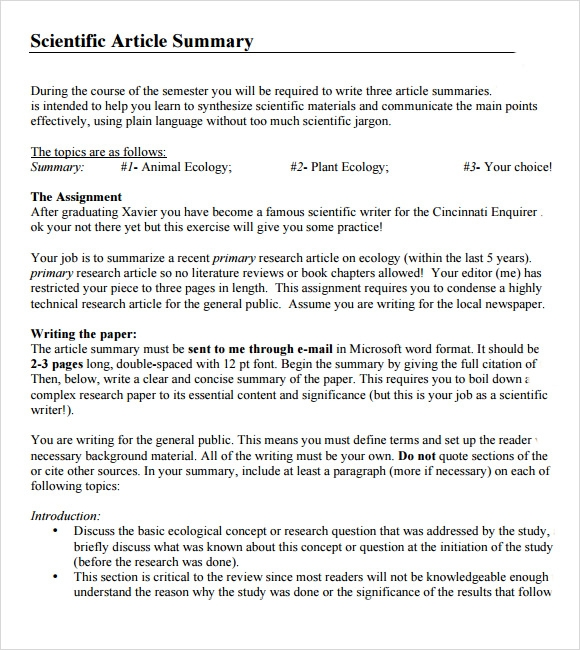 article summary format example
