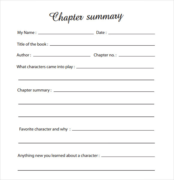 Sample Chapter Summary Template - 6+ Free Documents in PDF , Word