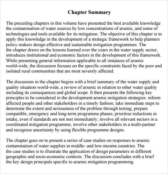 Sample Chapter Summary   Documents In Pdf Word