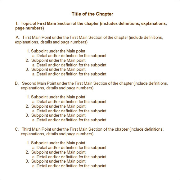 chapter summary outline template