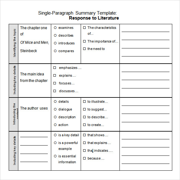 sample chapter summary template