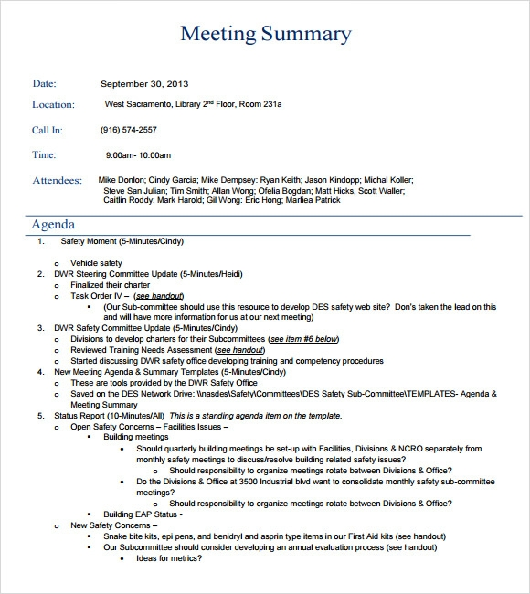 Good Meeting Summary Format  Meeting Summary Template Word