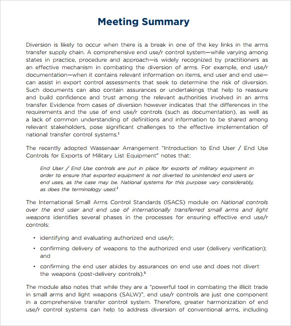 Sample Meeting Summary Template - 7+ Documents In Pdf