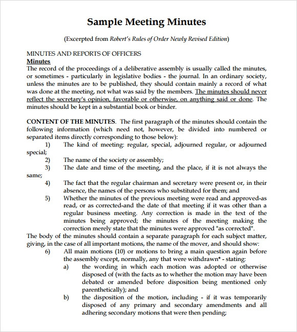 minutes of meeting sample word format