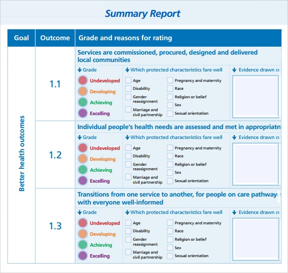Sample Summary Report 7 Documents in PDF – Report Template
