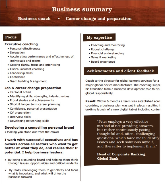 Delightful Business Summary Template Free  Business Summary Template