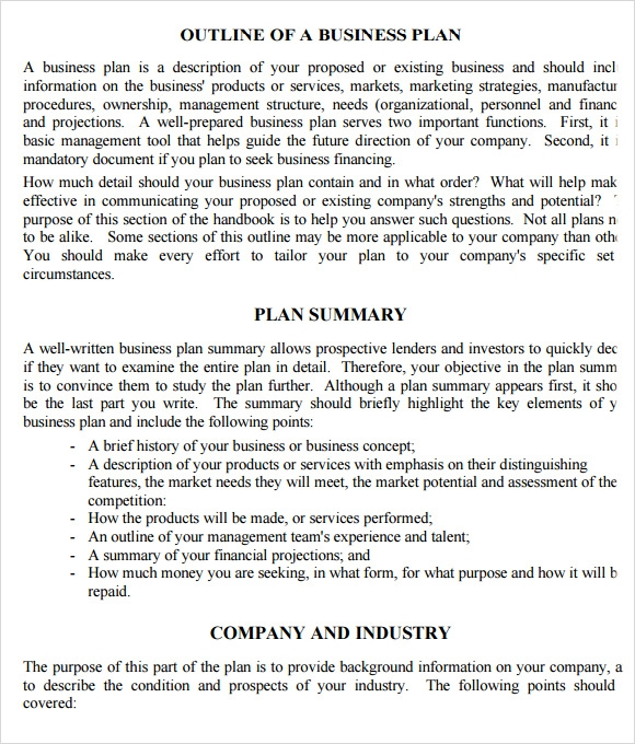 Summary business plan template