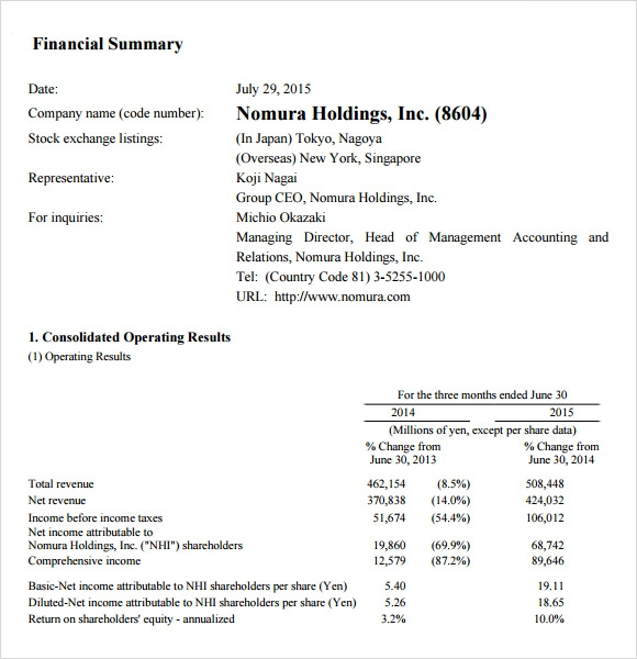 financial summary report template