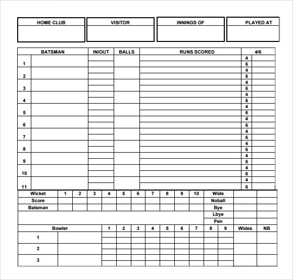 Sample Cricket Score Sheet   Documents In Pdf