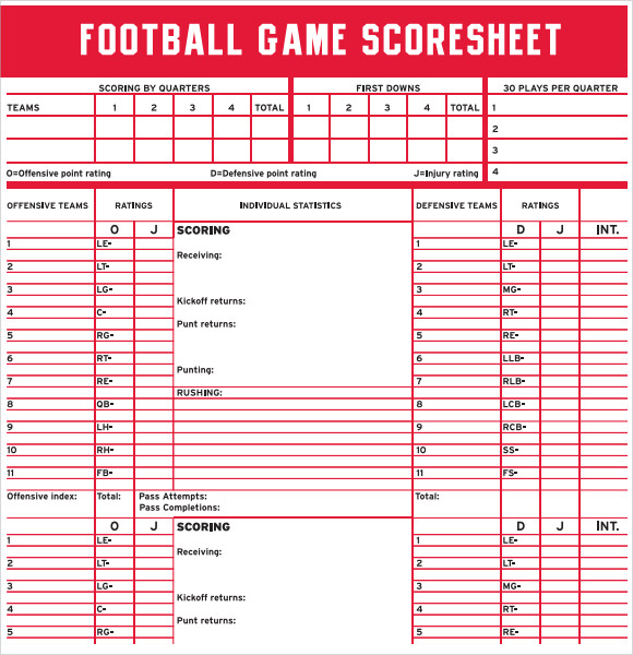 Sample Football Score Sheet   Documents In Pdf
