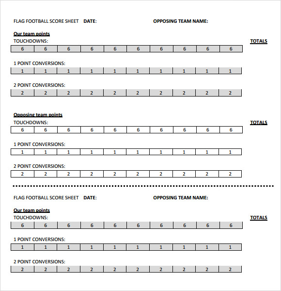 flag football score sheet template
