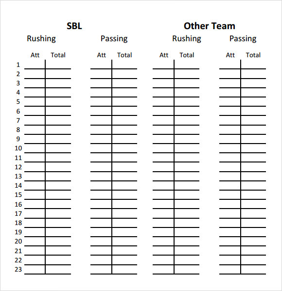 Sample Football Team Sheet Template Download