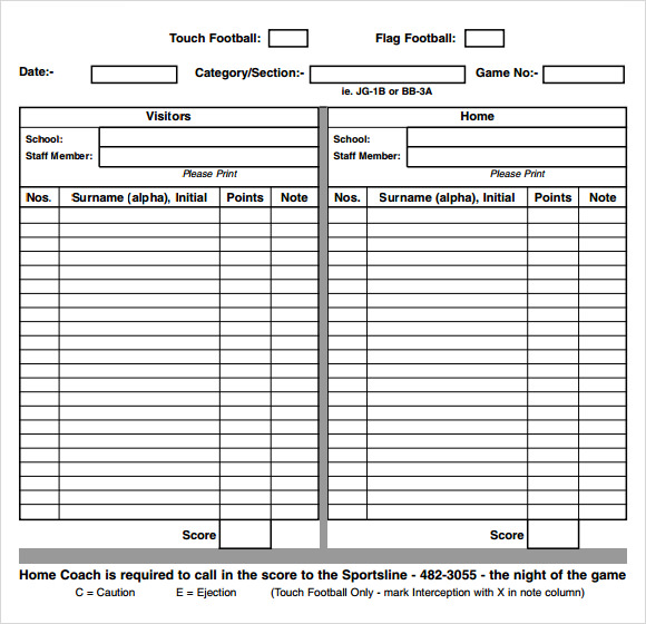 football score sheet 13  Sample Football Score Sheet Templates | Sample Templates