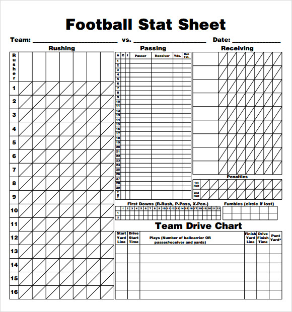 football stat sheet template pdf