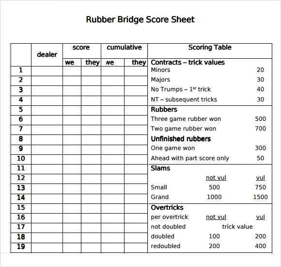 Bridge Score Sheet  WowcircleTk