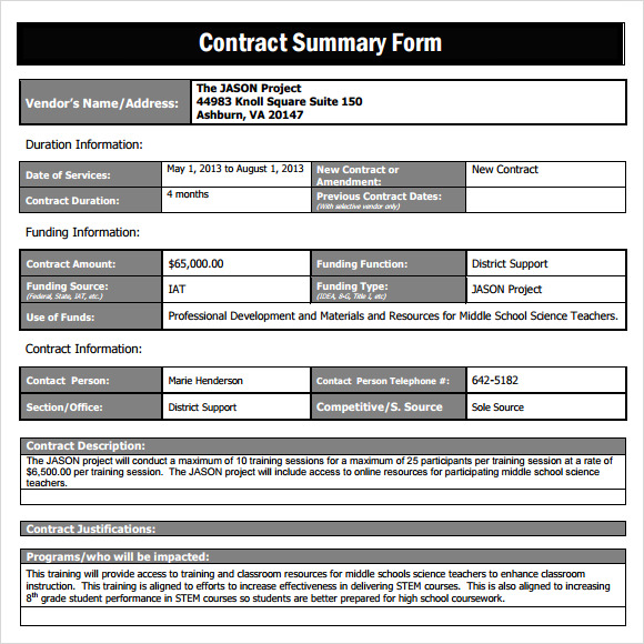 Sample Contract Summary Template   Free Documents In Pdf
