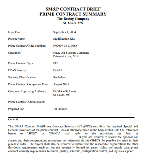 contract brief template