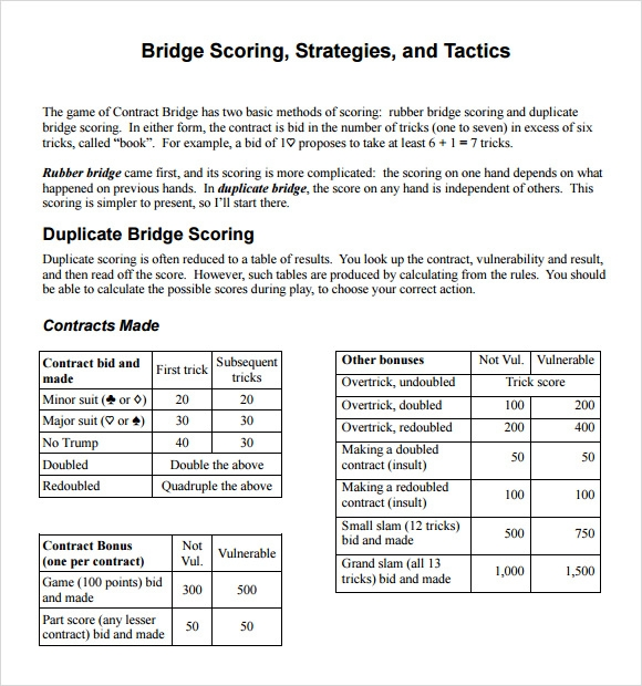 8 Sample Bridge Score Sheets Pdf Sample Templates