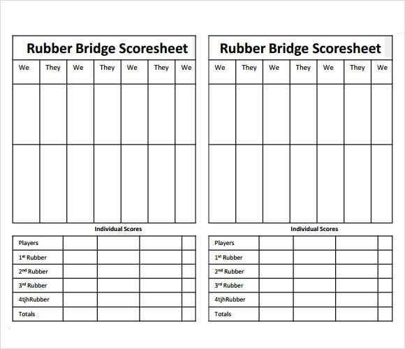 Sample Bridge Score Sheet   Documents In Pdf