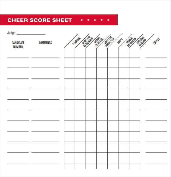 Sample Cheerleading Tryout Score Sheet   Documents In Pdf