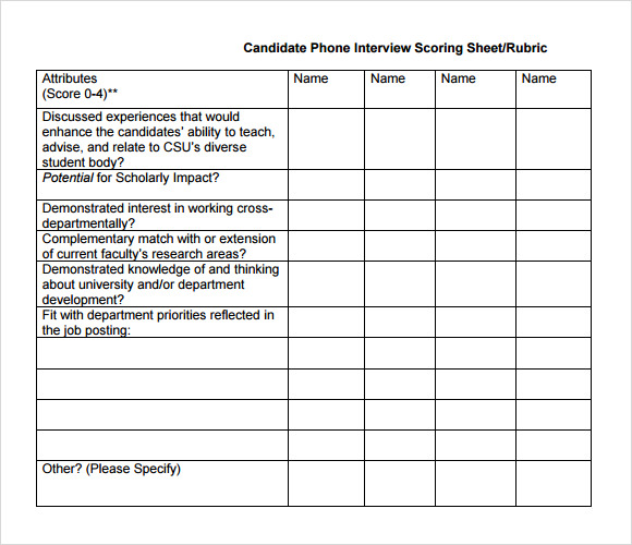 Sample Interview Score Sheet   Documents In Pdf