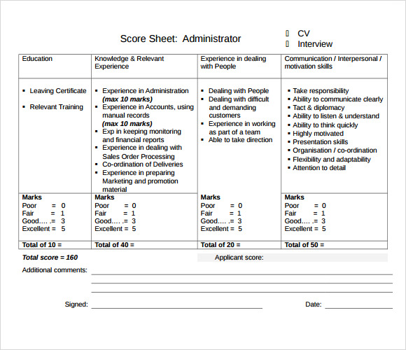 sample interview score sheet