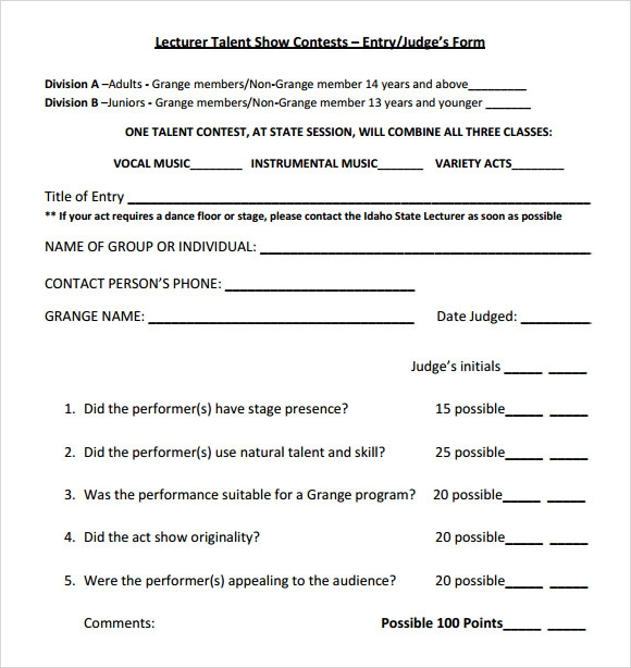 talent show score sheet example