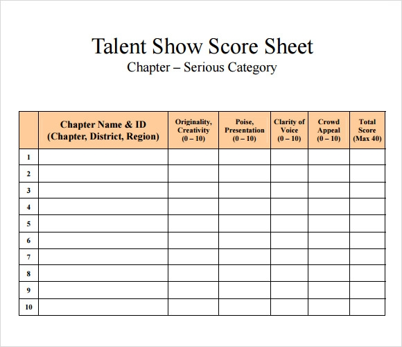 Sample Talent Show Score Sheet 7 Documents in PDF – Sample Talent Show Score Sheet