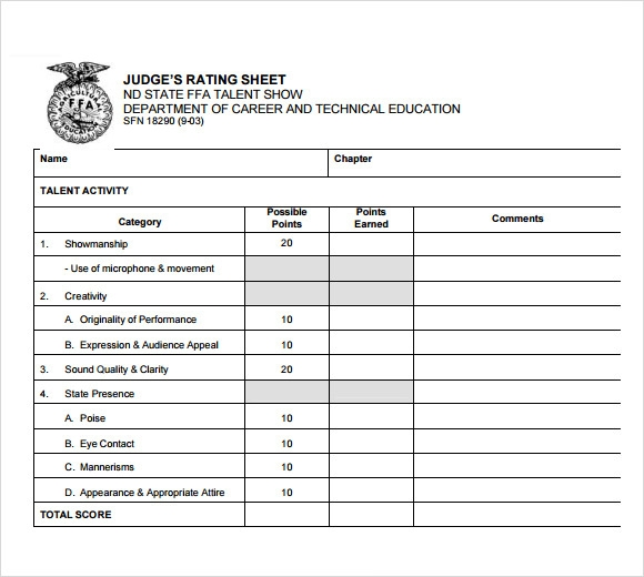 Sample Talent Show Score Sheet   7+ Documents In Pdf