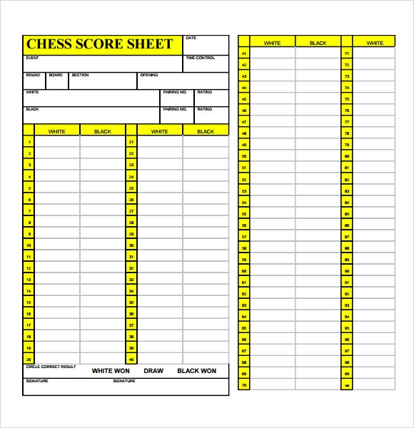 Sample Chess Score Sheet Home Design Ideas